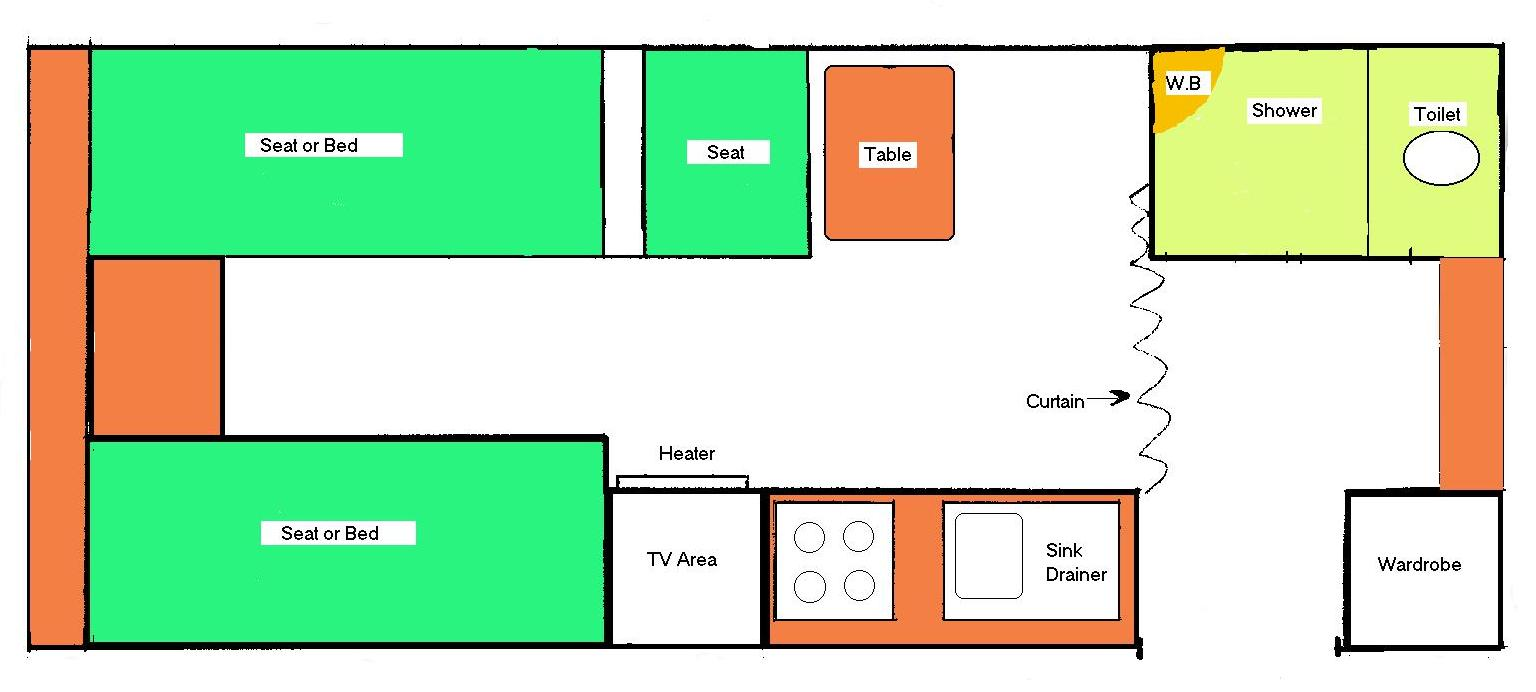 Floor plan of wheelchair accessible caravan