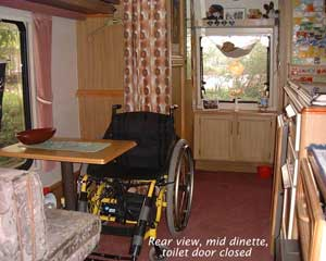 Wheelchair access to caravan dinette